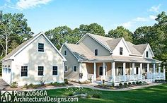 4 bed farmhouse with bonus room over the garage. Architectural Designs House Plan 2056GA. Almost 3,500 square feet. Ready when you are. Where do YOU want to build?