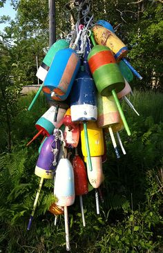 Lobster pot floats in Maine -- love all the colors!