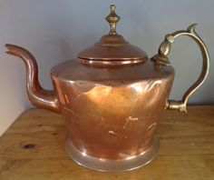 Victorian Copper And Brass Teapot By William Soutter & Sons, Birmingham, Wonderful Antique Copper Teapot, With Brass Handle And Hinged Lid by OnyxCollectables on Etsy