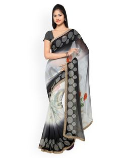 Kvsfab Bollywood Designer Georgette Party Wear Saree with Unstitched Blouse Piece Grey Saree, Yellow Saree, Saree Blouse, Sari, Saree Shopping, Party Wear Sarees, Printed Sarees, Bollywood, Blouses For Women