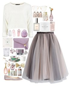 """""""Mandy"""" by pastel-invitation ❤ liked on Polyvore featuring Chicwish, Jimmy Choo, Mapleton Drive, philosophy, Linda Farrow, Fresh, Lollia, Rebecca Minkoff, Dogeared and Cultural Intrigue"""
