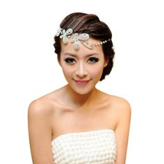 HP95(TM) Women's Hair Accessory, Bride Forehead Decorative Butterfly for Wedding, Evening Cocktail Party (White) * Check out the image by visiting the link.