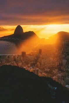 Wonderful sunset in city Rio de Janeiro / Brazil