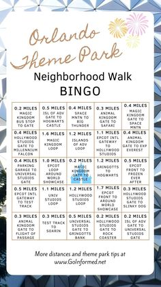 Imagine walking through Disney World and Universal Orlando and track your walking distance with this fun bingo card. Get your whole family moving with this diverting quarantine activity plus get ready for your Orlando theme park vacation too! Learn more about walking at Disney World at www.GoInformed.net