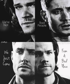 "Supernatural (""Shame"" quote) Sam and Dean never were and never will be bad this quote doesnt fit. Supernatural Destiel, Supernatural Bloopers, Supernatural Wallpaper, Supernatural Imagines, Supernatural Quotes Dean, Supernatural Birthday, Supernatural Crossover, Supernatural Tattoo, Sam And Dean Winchester"