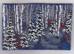 Joe Wood's beaded embroidery on felt, birch and pine trees with snow