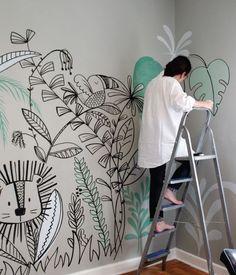 Mom I found it! Cheerful walls painted by hand to decorate the wall of . Paredes alegres pintadas a mão para decorar a parede de quartos de… Mom I found it! Cheerful hand-painted walls for … - Baby Bedroom, Baby Room Decor, Wall Decor, Girls Bedroom, Room Baby, Room Wall Painting, Mural Wall Art, Kids Wall Murals, Nursery Wall Murals