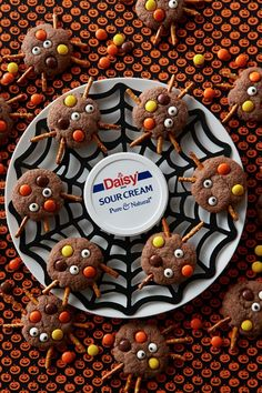 Chocolate Spider Cookies - Daisy Brand - Sour Cream & Cottage Cheese Halloween Food For Party, Halloween Treats, Spooky Halloween, Real Food Recipes, Cookie Recipes, Dessert Recipes, Desserts, Chocolate Spiders, Daisy Sour Cream