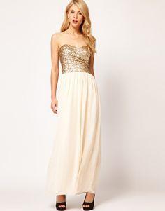 Vergrößern TFNC – Trägerloses Kleid mit paillettenbesetztem Oberteil und Maxirock aus Chiffon