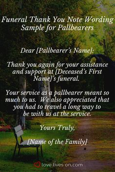 21 Best Pallbearers Images Need To Know Sympathy Thank You Notes