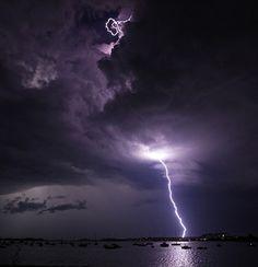 Lightning storm over Dorchester Harbor | Jim Davis/The Boston Globe