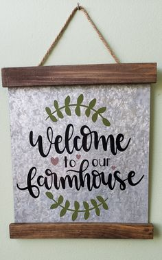 Wood & Metal Wall Hang Welcome to our Farmhouse.only 2 available Paint Stick Crafts, Chalk Crafts, Chalk Art, Wood Crafts, Diy Vinyl Projects, Circuit Projects, Dollar Tree Cricut, Popular Crafts, Thrift Store Crafts