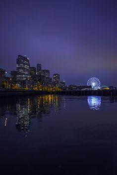 Seattle Blue Hour | Washington (by Del Hoffman)