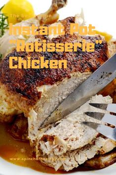 """The best recipe Instant Pot """"Rotisserie"""" Chicken Instapot Recipes Chicken, Chicken Lunch Recipes, Crockpot Recipes, Cooking Recipes, Instant Cooker, Instant Pot Pressure Cooker, Pressure Cooker Recipes, Minions, Chicken Breakfast"""