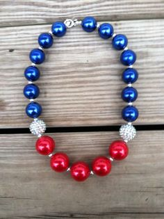 American Flag/4th Of July Red White Blue Chunky Bubblegum Necklace