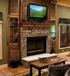 """stone hearth rustic mantle with tv. Love! 55"""" TV maximum above mantel."""