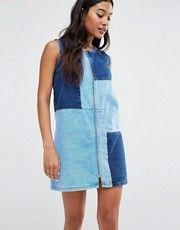 River Island Patchwork Zip Through Denim Dress
