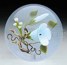 VICTOR TRABUCCO MORNING GLORY & BUD PAPERWEIGHT.