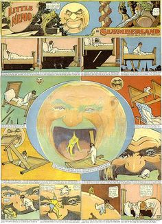 Windsor McCay - LIttle Nemo Cartoon Strip. Saw the original illustration at the Newark Museum. The Man in the Moon in the Center was created by multiple overlapping inks, an amazing feat considering the time and media. Comic Kunst, Comic Art, Comic Books, Little Nemo In Slumberland, Narrativa Digital, Illustration Art Nouveau, Ligne Claire, Bd Comics, Chef D Oeuvre