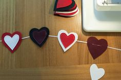 Felt & ribbon Valentines Garland