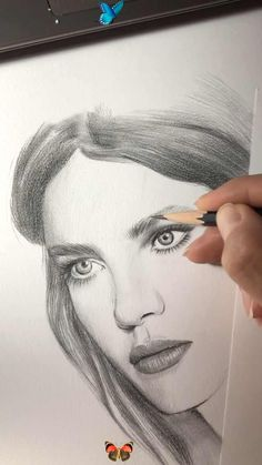 Work in progress. Drawing of Natalia Vodianova Time lapse video of drawing a portrait<br> Pencil Art Drawings, Realistic Drawings, Art Drawings Sketches, Drawing Art, Pencil Portrait Drawing, Drawing Portraits, Caricature Drawing, Drawing Ideas, Beautiful Drawings