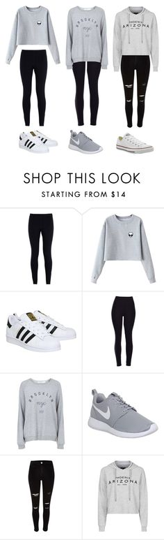 """3 cute outfits"" by olivia-clarkk ❤ liked on Polyvore featuring NIKE, Chicnova Fashion, adidas, Topshop, River Island and Converse"