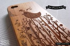 SALE30%OFF: Natural Wood iPhone 4 Case - Engraved Bird Singing in The Forrest iPhone Case // 3D, Cherry Wood, Art, Gift, Laser Engraving, 4s. $23.10, via Etsy.