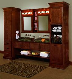 Double Vanity with Linen Cabinet | Rustic Alder double vanity with ...