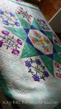 Mary's Feathered Star.  quilted by Borderline Quilter.  I ADORE the applique positioned in the in the open spaces of the star.  The magnificient quilting pushes the quilt over the top!  Lovely from start to finish!
