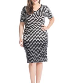 5dca0500b79 Plus Size Zigzag Printed Dress V-Neck Short Sleeves. Casual Party ...