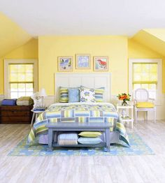 Yellow room ideas for kids yellow room ideas yellow bedroom ideas enchanting decoration tropical bedrooms yellow . Blue Yellow Bedrooms, Blue Bedroom, Trendy Bedroom, Bedroom Colors, Modern Bedroom, Bedroom Wall, Bedroom Decor, Bedroom Furniture, Bed Room