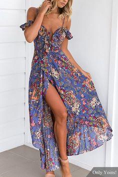 Random Floral Print Splited Hem Maxi Dress