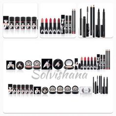 "Mac Marilyn Monroe Collection - top row 5: polishes, 5 lipsticks, 2 dazzleglass, the eye liners and mascara are just basic items, middle row: 2 blushes, 1 beauty powder ""Forever Marilyn"", the same 5 lipsticks and dazzleglass as pictured above, lip liners are just basic items, bottom row: same 5 polishes as above, 4 pressed pigment eye shadows and #35 Marilyn lash."