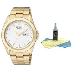 Citizen BF0582-51A Men's Quartz White Dial Gold Tone Stainless Steel Watch with 30ml Ultimate Watch Cleaning Kit