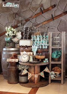 www.kamalion.com.mx - Mesa de Dulces / Candy Bar / Postres / Evento / Café & Menta / Mint & Brown / Vintage / Rustic Decor / Mesa de Dulces / Carrete / Dessert.