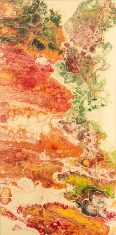 Indian Summer | Acrylic cellular pour painting | 80 x 40 x 4 cm | For sale