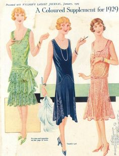 Culture/Economics: Women in They were showing their legs and low cut dresses. This advertisement also led to Consumer Culture of buying excess and spending more than necessary. 30s Fashion, Art Deco Fashion, Fashion History, Retro Fashion, Vintage Fashion, Fashion Design, 1920s Fashion Women, Fashion Stores, Woman Fashion