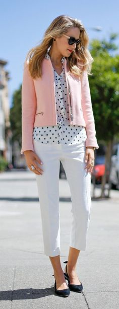 white textured cropped pants, black and white polka dot button front blouse + salmon pink boucle zip jacket