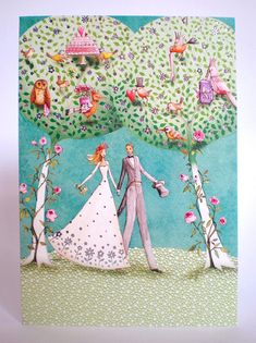 Wedding card folded by Mila Marquis by MarquisWonderland on Etsy