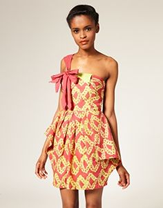 not my style, but i love the fabric. it's a rather lovely unusual dress and it's made by a wonderfully ethical fashion label