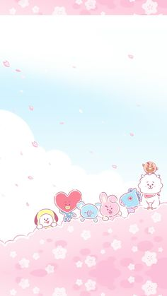 Just leave out all the rest Pastel Wallpaper, Kawaii Wallpaper, Bts Wallpaper, Iphone Wallpaper, Biya, Bts Backgrounds, Bts Drawings, Bts Chibi, Line Friends
