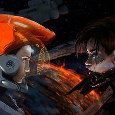 """Clash"" by #ZacharyMadere.  #sciencefiction #scifi Far Future, Cyberpunk Art, Sci Fi Fantasy, Galaxies, Science Fiction, Concept Art, Robots, Illustration, Anime"