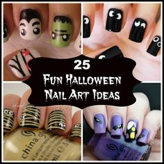 Glow In The Dark Ghosts on black nails - Free hand holiday, Halloween nail art