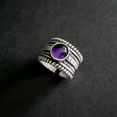 Amethyst Rings, February Birthstone, Birthstone Rings, Amethyst Jewelry, Boho Rings, Statement Ring, Silver Rings, Gemstone Jewelry, For Her