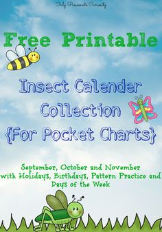 Insect Cards for Pocket Calenders {Free Printable} - Only Passionate Curiosity