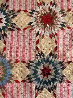 Detail, Beautiful Antique Handmade LAE 1800s Prarie Star Bouquet Quilt Pink Brown Blue   eBay