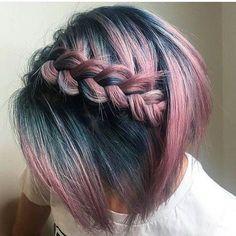 dutch plait on ombre dusky rose to petrol blue bobbed hair