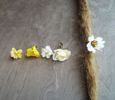 Shades of White & Yellow Flower Dangle Charm Bead Antiques Brass  Dreadlock Accessory Extension Accessories Dread Boho Bohemian Hippie on Etsy, £1.69