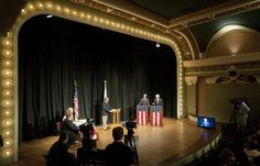 46th District state Senate candidates, Republican Pat Sullivan, at right podium, and incumbent Democrat Dave Koehler participate in a live televised political debate Wednesday night at the Apollo Theatre in Downtown Peoria.