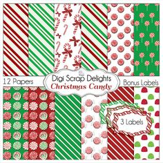 Christmas Digital Papers, Candy Backgrounds w Candy Cane, Peppermint, Gum Drops, Red, Green for Cards, TpT Digital Scrapbook,